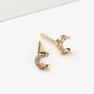 Tiny Crystal Moon Stud Earrings - earrings