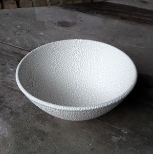 Stoneware Bowl In A Textured White Bead Glaze - bowls