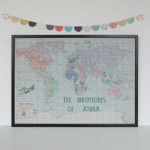 Personalised Embroidered World Map - personalised