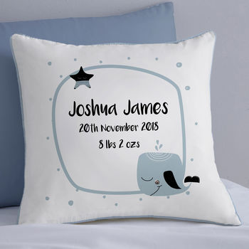 Personalised New Baby Whale Cushion