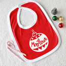 Personalised Christmas Bauble Baby Bib