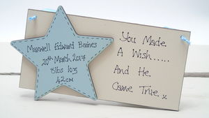 New Baby Personalised Wooden Plaque