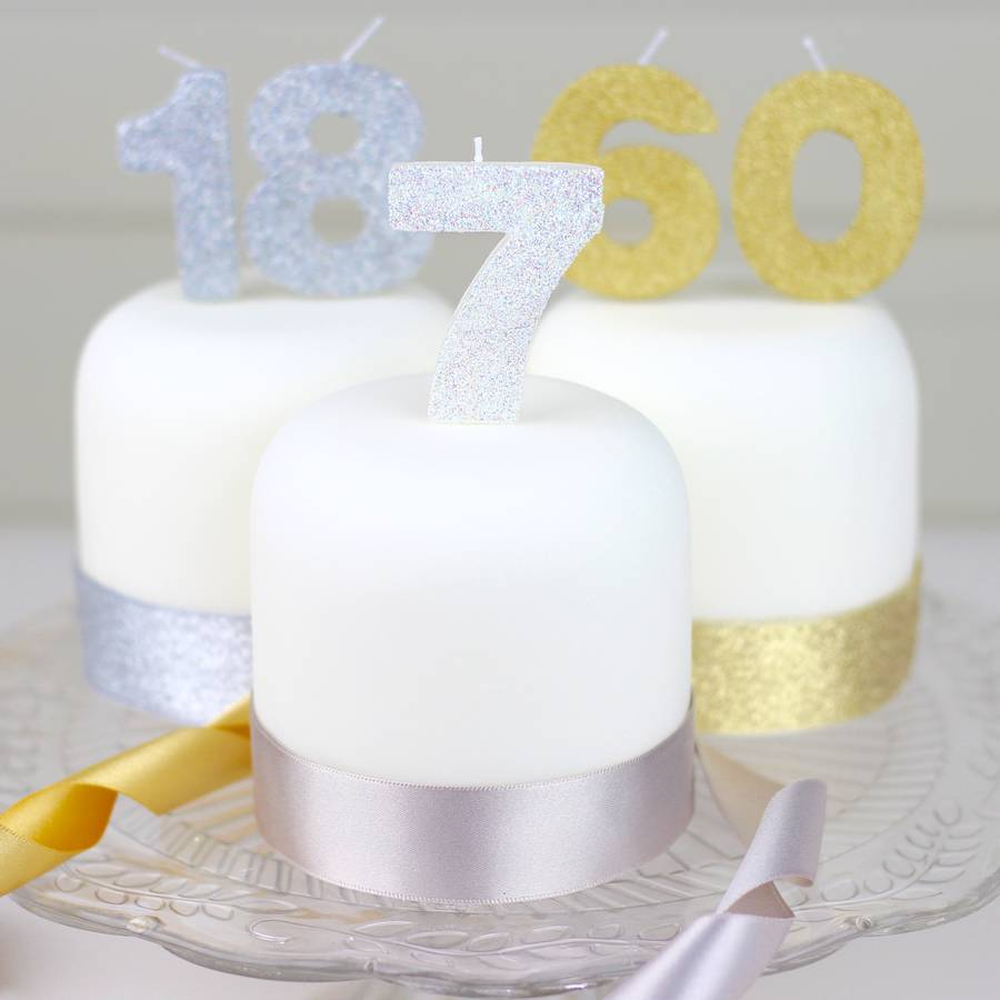 Silver White And Gold Glitter Number Birthday Candles