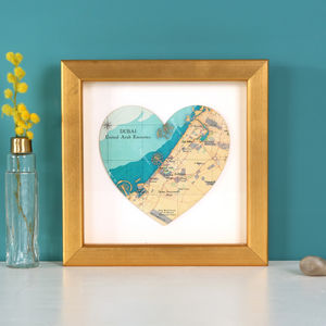 Map Location Heart Print Golden Anniversary Gift