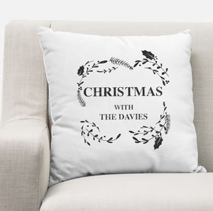 Personalised Christmas Family Wreath Cushion Cover - christmas home accessories