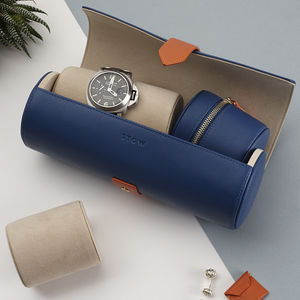 Luxury Personalised Watch Roll Gift Set - men's jewellery
