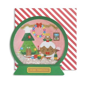 Chrsitmas Dinner Snow Globe Card