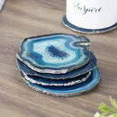 Teal Agate Crystal Silver Edge Coasters