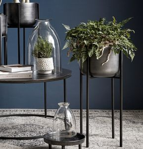 Blackened Planter On A Tall Stand - table decoration