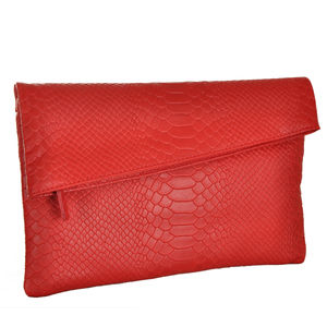 Rouge Envelope Leather Clutch - clutch bags