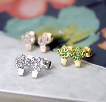 Cactus Earrings With Cubic Zirconia