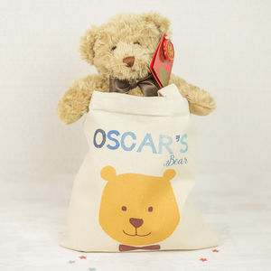 Personalised Bear In A Bag - birthday gifts for children