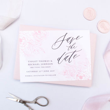 Delicate Blush Wedding Save The Date
