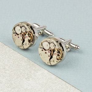Vintage Watch Movement Cufflinks - wedding jewellery