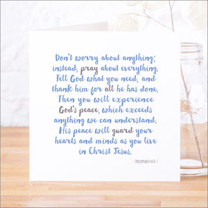 'God's Peace' Contemporary Bible Verse Card - shop by category