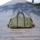 Genuine Leather Canvas Classic Holdall Personalised Bag