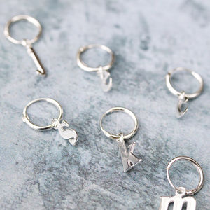 Alphabet Initial Silver Earrings - earrings