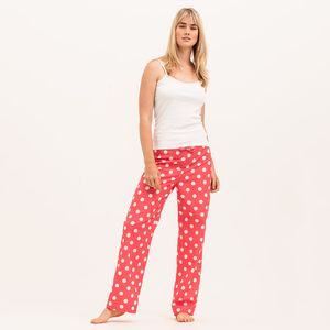 Women's Watermelon Red And White Spot Cotton Pj Bottoms