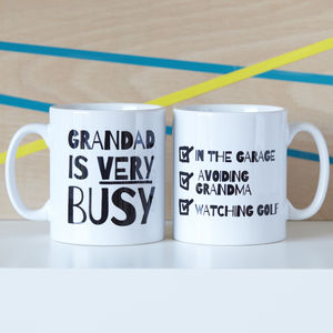 Personalised 'Very Busy' Grandad Mug