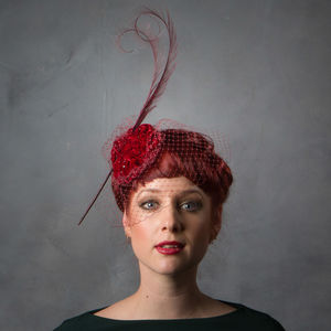 Ruched Velvet Evening Wedding Fascinator - hats & fascinators