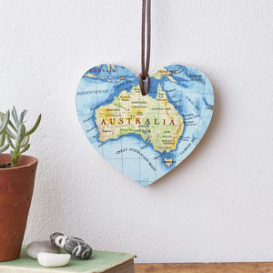 Engraved Personalised Map Location Hanging Heart - 5th anniversary: wood