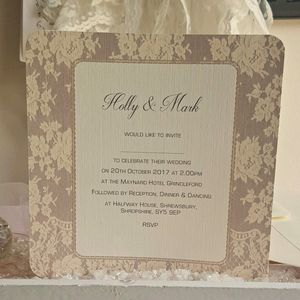 Brown Vintage Lace Wedding Invitations - invitations