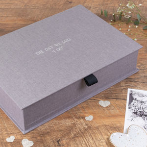 Personalised Wedding Keepsake Box Grey Linen
