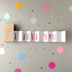 I Love You Concertina Card - wedding, engagement & anniversary cards