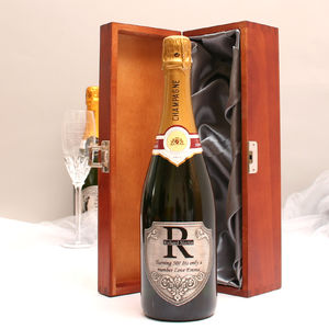 Personalised Champagne Gift With Pewter Monogram Label
