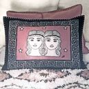 Hand Embroidered Gemini Zodiac Cushion