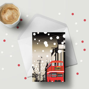Oxford Street Snow Lights Greeting Cards. A6 Size