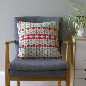 45cm Knitted Lambswool Tapestry Flower Cushion - cushions