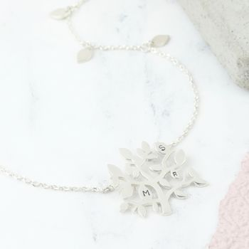 Shiny Sterling Silver Family Tree Necklace