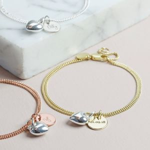 Personalised Disc And Puffed Heart Charm Bracelet - bracelets & bangles