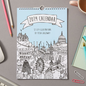 2019 City Illustration Wall Calendar