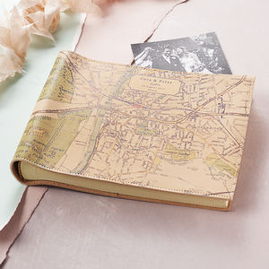 Personalised Map Photo Album - 50th anniversary: gold