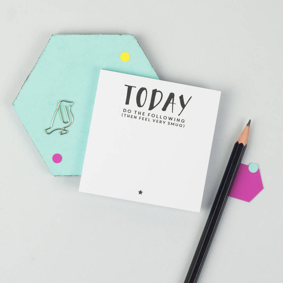 today… feel very smug' sticky notes by xoxo | notonthehighstreet ...