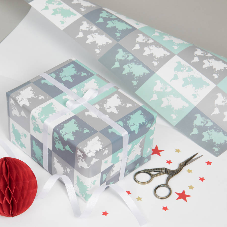 Metallic World Map Gift Wrap