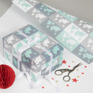 Metallic World Map Gift Wrap - wrapping