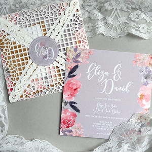 Vintage Lace Floral Wedding Invitation - wedding stationery