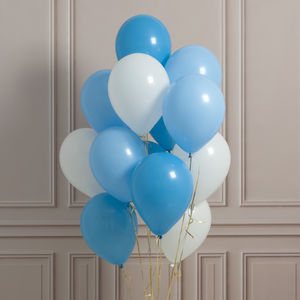 Pack Of 14 Baby Boy Party Balloons - announcement and gender reveal ideas