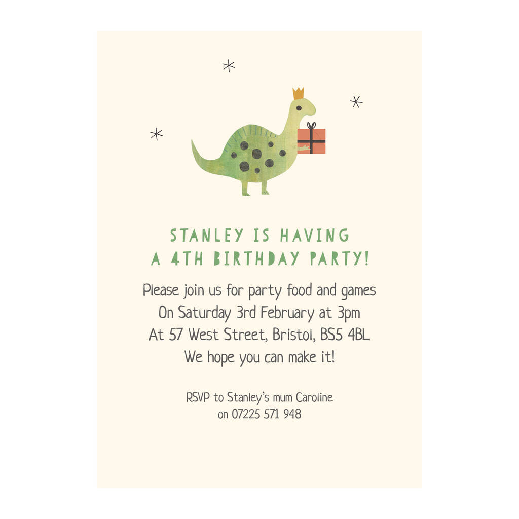 Personalised Dinosaur Birthday Invitations