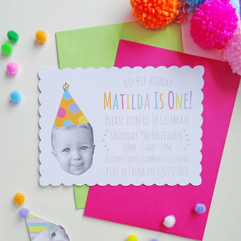 Set Of 12 Happy Head Personalised Party Invitations