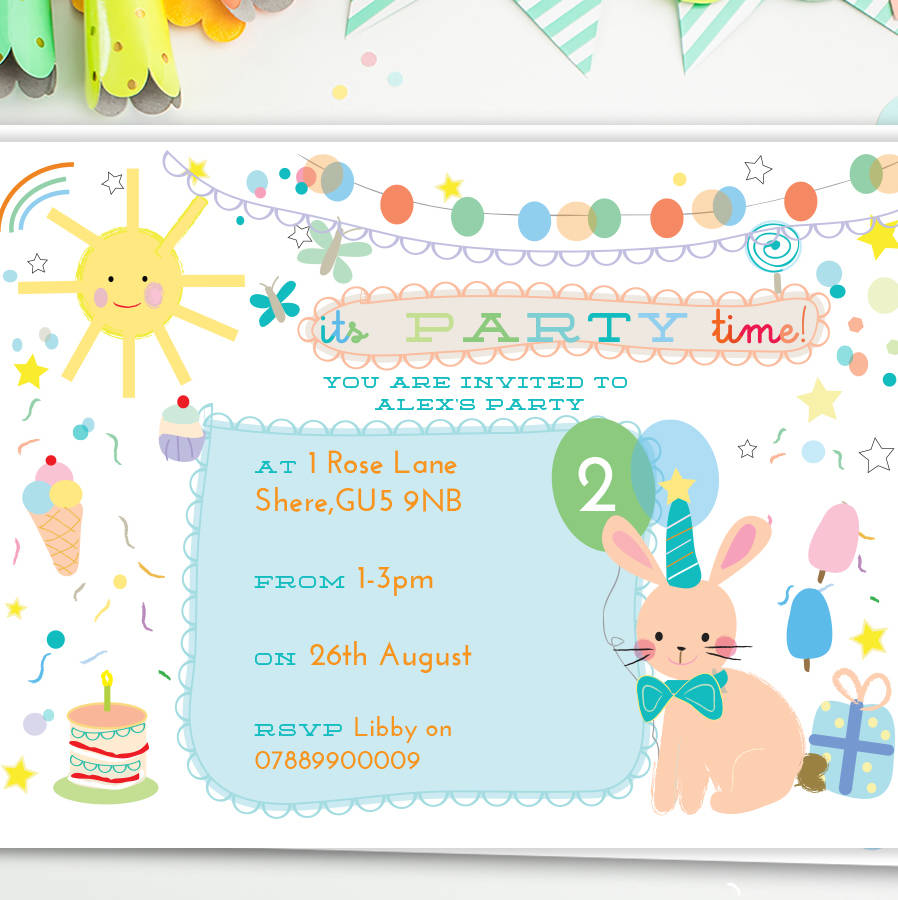 Childrens birthday party invites bunny by lily summery childrens birthday party invites bunny filmwisefo