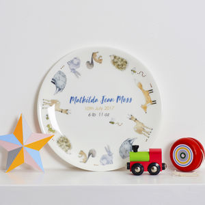 Personalised In The Woodland Christening Plate - christening gifts
