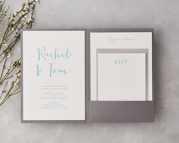 Calligraphy Pocket Letterpress Wedding Invitation