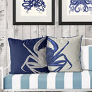 Contrasting Blue Crab Nautical Cushions
