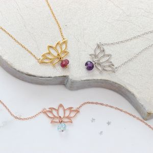 Lotus Flower Pendant Necklace With Birthstone