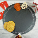 Merry Christmas Round Slate Serving Board