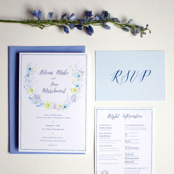 Yellow And Blue Floral Wedding Invite Sample